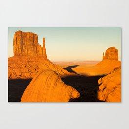 Golden Hour at Monument Valley - Arizona and Utah Border Canvas Print