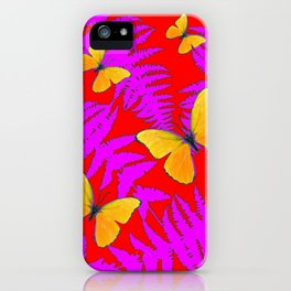 Modern RED Design  Fuchsia Fern Fronds With Yellow Butterflies iPhone Case