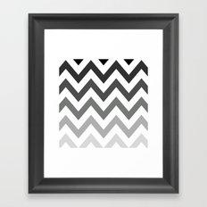 BLACK/GRAY OMBRÉ CHEVRON Framed Art Print