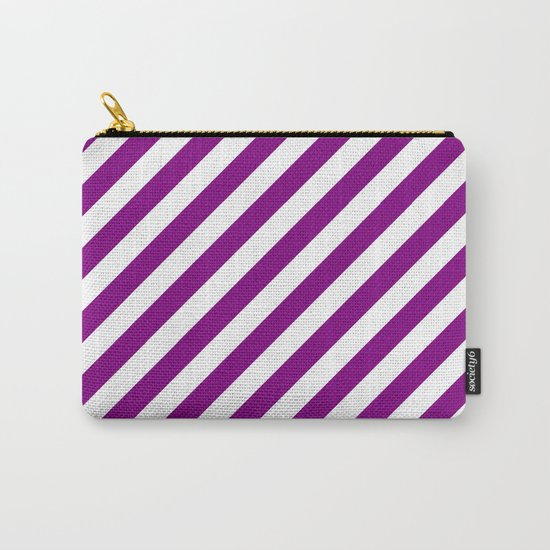 Diagonal Stripes (Purple/White) Carry-All Pouch