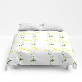 yellow buttercup flower watercolor Comforters