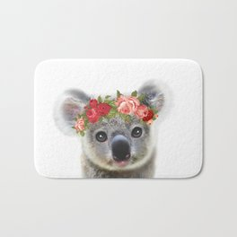 Cute Baby Animal Koala bear with Flower Crown Bath Mat