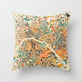 Paris mosaic map #3 Throw Pillow