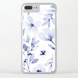 Indigo and white watercolour floral Clear iPhone Case