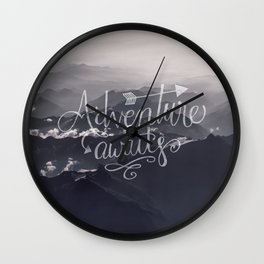 Adventure awaits Typography Gorgeous Mountain View Wall Clock
