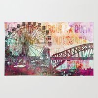 sydney Area & Throw Rugs featuring Sydney Luna Park  by LebensART