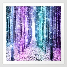 Magical Forest Lavender Aqua Teal Ombre Kunstdrucke