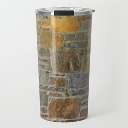 Avondale Brown Stone Wall and Mortar Texture Photography Travel Mug