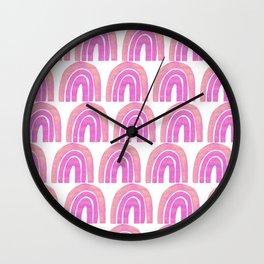 Boho Rainbow Pink and Purple Pattern | Modern Rainbow Pattern | Mid-Century Modern Rainbow Wall Clock