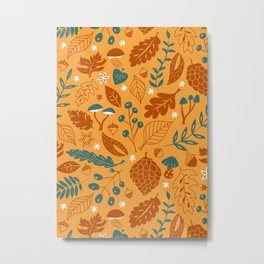 Fall Foliage in Yellow, Terracotta, and Blue Metal Print