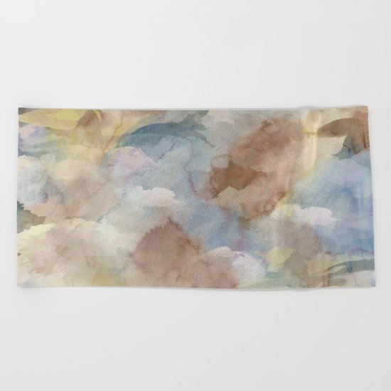 Earth Color Watercolor Abstract Beach Towel