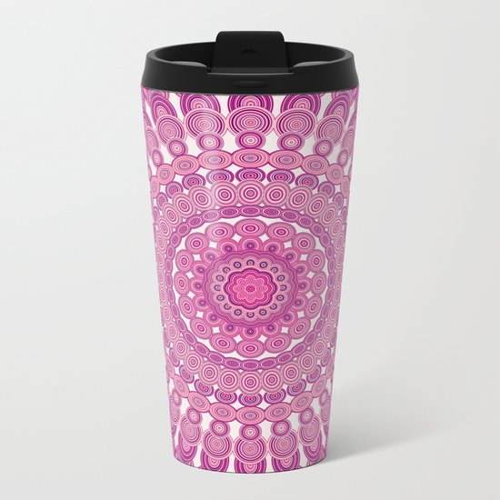 Pink oval mandala Metal Travel Mug