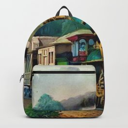 1870 Currier & Ives Steam Locomotive - The Express Train Lithograph Backpack