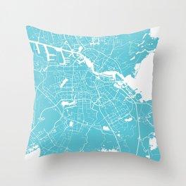 Amsterdam Turquoise on White Street Map Throw Pillow