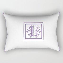 Monogram Letter L in Violet and White Rectangular Pillow