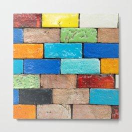 Colorful Brick Wall Metal Print