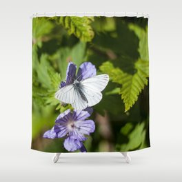 White Moth Photography Print Shower Curtain