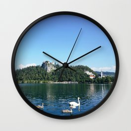 Swans in Bled Wall Clock