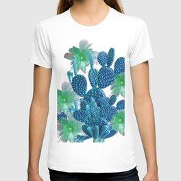 SURREAL BLUE PEAR CACTUS & FLOWERS DESERT ART T-shirt