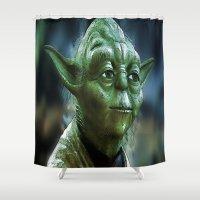 yoda Shower Curtains featuring Yoda by Robin Curtiss