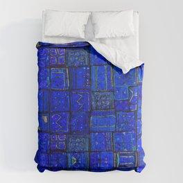 Deep Calm Blue Oriental Berber Traditional Moroccan Texture Design  Comforters