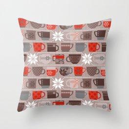 Snow Day Mugs - Chocolate Throw Pillow