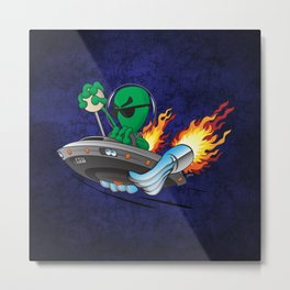 UFO Alien Hot Rod Cartoon Illustration Metal Print