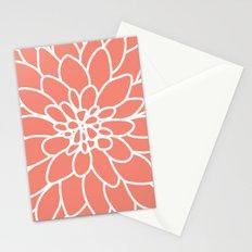 Coral Modern Dahlia Flower Stationery Cards