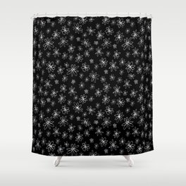 Loopy Flowers - white on black Shower Curtain