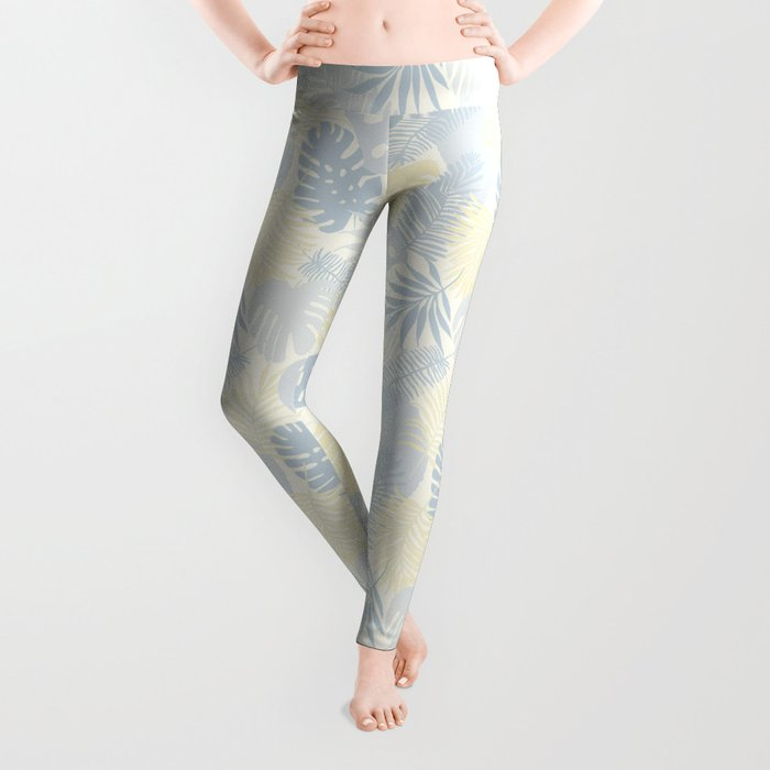 Tropical Leaves Pattern Yellow And Grey Leggings