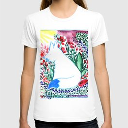 white fox in flowers landscape T-shirt
