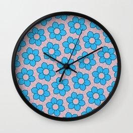 Seamless Blue Floral Design Wall Clock