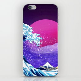 Synthwave Space: The Great Wave off Kanagawa #2 iPhone Skin