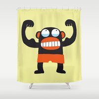 muscle Shower Curtains featuring Muscle Monkey by Zubinski Products
