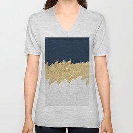 Navy blue white lace gold glitter brushstrokes Unisex V-Neck
