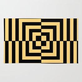 Graphic Geometric Pattern Minimal 2 Tone Illusion Squares (Golden Yellow & Black) Rug