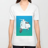 vespa V-neck T-shirts featuring Vespa by Frivolous Designs