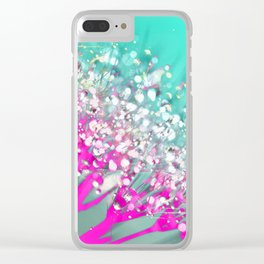 Pink and Turquoise Abstract Digital Photographic Floral Art Clear iPhone Case