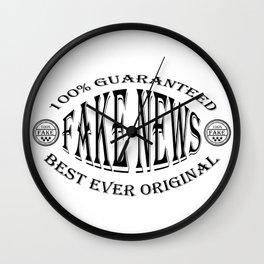 Fake News badge (black on white) Wall Clock