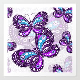 Colorful Butterflies and Flowers V7 Art Print