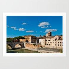 The Tiber Island in Rome Art Print