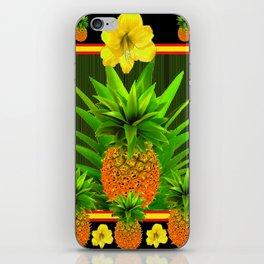 HAWAIIAN TROPICAL FLORAL-PINEAPPLES BLACK ART iPhone Skin