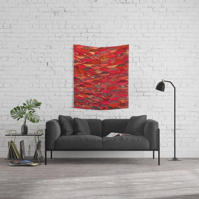 V35 Red Traditional Moroccan Artwork Pattern Wall Tapestry