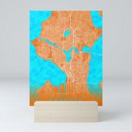 Seattle, WA, USA, Gold, Blue, City, Map Mini Art Print