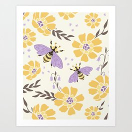 Honey Bees and Flowers - Yellow and Lavender Purple Art Print