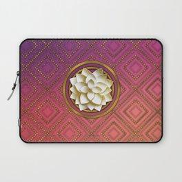 Elegant White & Gold Lotus flower Laptop Sleeve