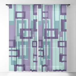 Geometric rectangles pattern violet Sheer Curtain