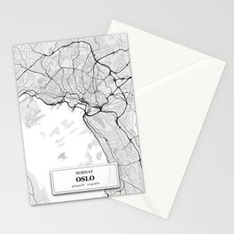 Oslo Norway City Map with GPS Coordinates Stationery Cards