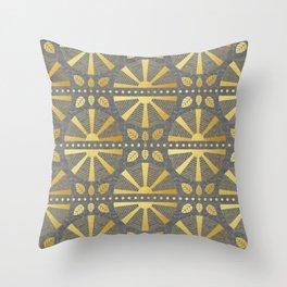 Gold & Grey Art Deco Fan Throw Pillow