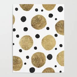 Modern abstract faux gold black watercolor polka dots pattern Poster